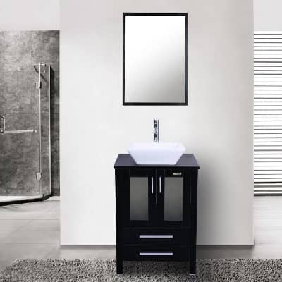 24 inch bathroom vanity with sink and faucet