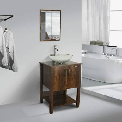 24 inch bathroom vanity with sink and mirror